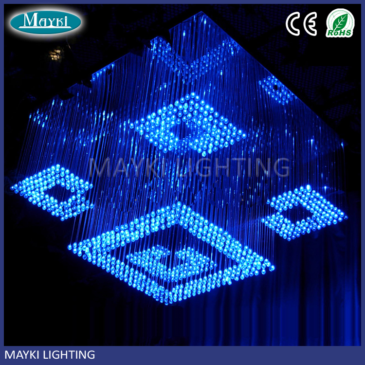 Customized colors-changing fiber optic chandelier pendant light for hotel and lobby