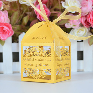 Personalized laser cut gold pearl paper indian wedding favor box