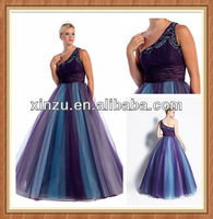 Captivating one shoulder good beaded work decorated with sash floor-length puffy skirt prom dress for fat women