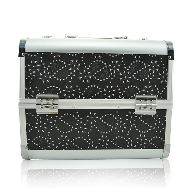 Aluminum Trolley Cosmetic Case Combination Lock Cosmetic Case with Black Printing