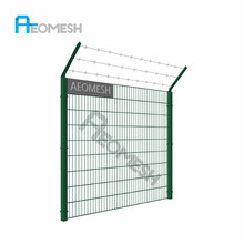 Cheap price high strength galvanized welded metal Double Wire Fence/ Welded Mesh Fence Panel