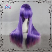 "31.5"" synthetic straight light purple to pink ombre cosplay wigs"