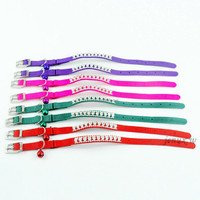 Nylon Rhinestones Diamonds Dog Puppy Cat Collars with Bells 4 Colors Avaliable(kzm00019)