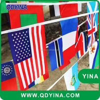 Quick delivery National polyester string flag for 2016 Olympic Games