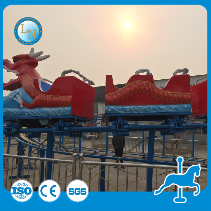 Theme park carnival ride kids electric dragon train game mini roller coaster