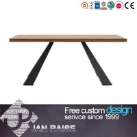 Wholesale modern design dining room table set 30 mm thick wood top dining table