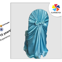 New Arrival Blue Self-tie Satin Chair Cover for Wedding Decoration, Universal Banquet Seat Cover