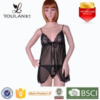 Cheap Fashion Sexy Lady Polyester Sexy Bedroom Wear Transparent Lingerie