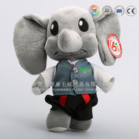 Cartoon and OEM stuffed animal elephants with big eyes