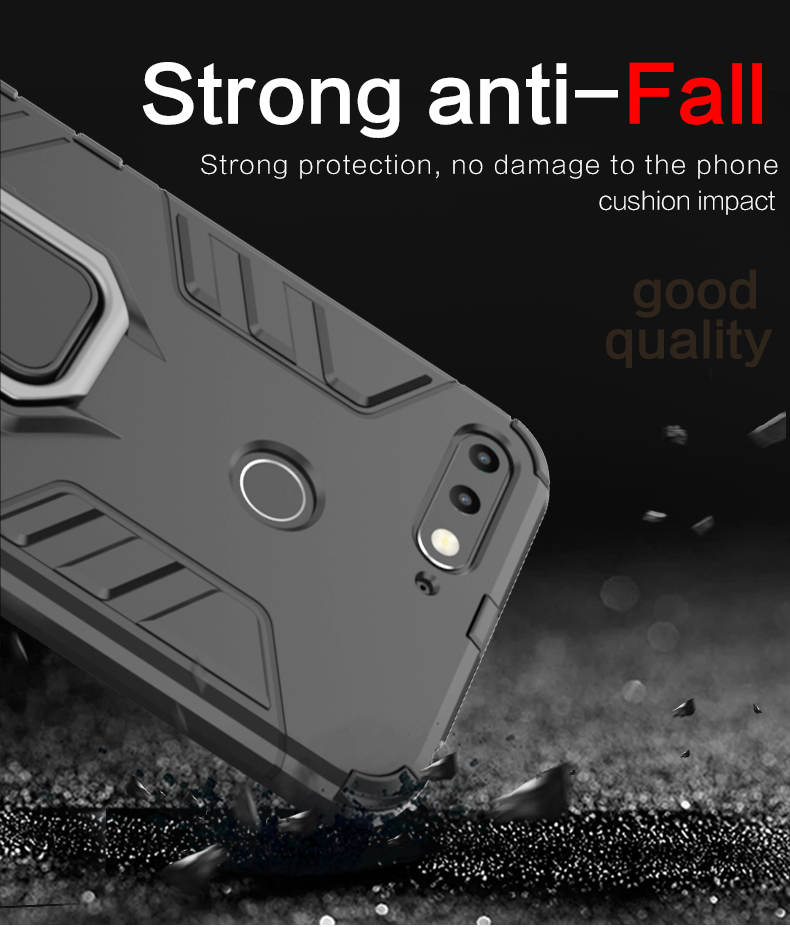 TPU PC metal ring kickstand back cover phone case for huawei honor 7a
