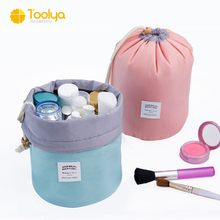 High capacity fashionable nylon barrel Shaped Travel Cosmetic Bag