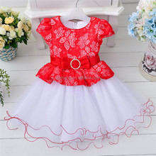 2016 western party wear lace flower girl dress wedding wear dress for baby girls frock design for baby girl