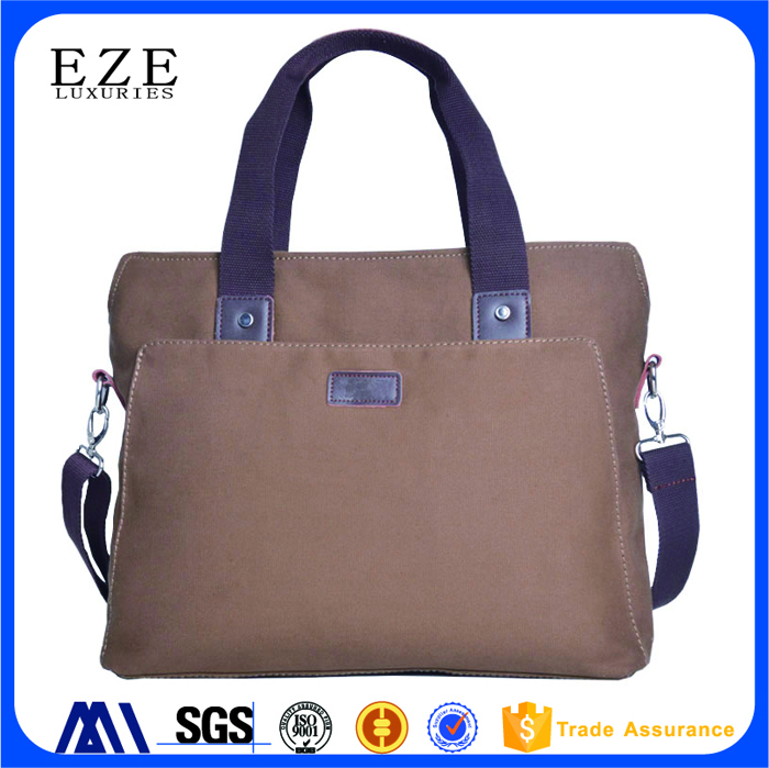 Wholesales Custom Leather Accents Vintage Canvas Laptop Bag