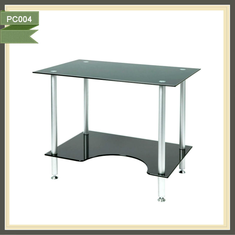 cheap sofa black tempered glass computer desk for sale
