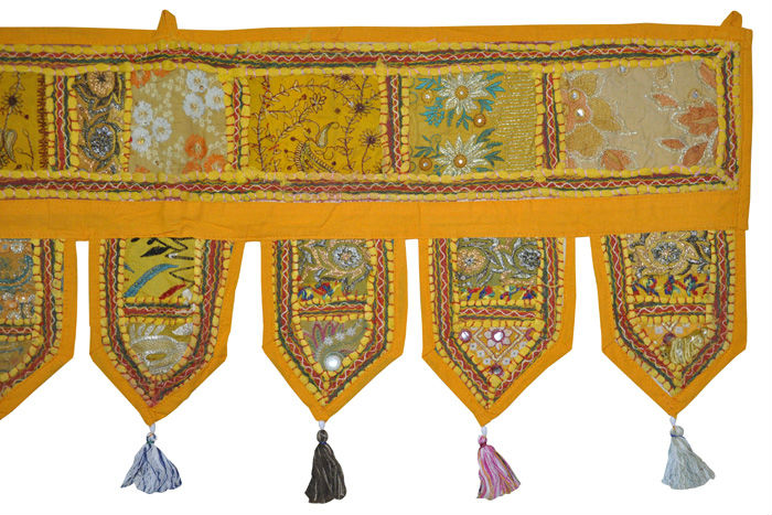 Indian Cotton Embroidery Handmade Door Hanging Yellow Color Retailer