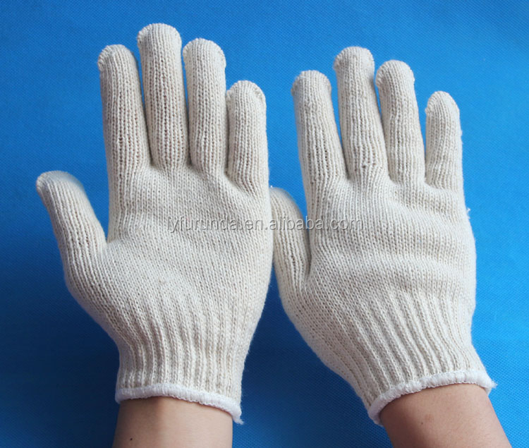 7 guage natural white Cotton knitted working gloves-500g