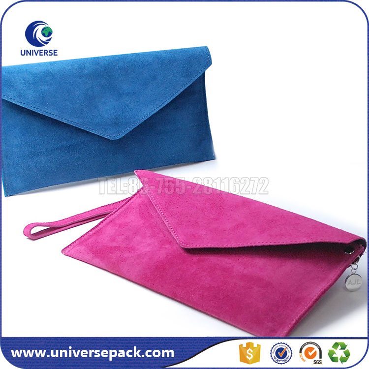 Customized Blank Suede Envelope Clutch Bag With Handle