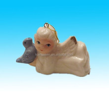 Lovely white angel bird tree decorationCeramic christmas ornament