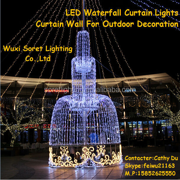 LED Waterfall Curtain Lights,Curtain Wall For Outdoor Decoration