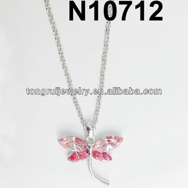 pink fake diamond dragonfly necklace