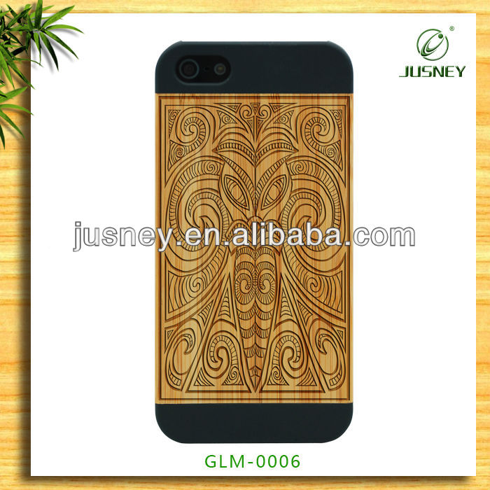 custom animal shaped engraving wood case for apple iphone 5 with old totem design