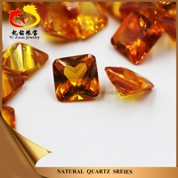 Princess cut square shaped synthetic sapphire yellow corundum
