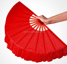 4 Colors Available Plastic Handle with Polyester Coverings Chinese Dance Fans