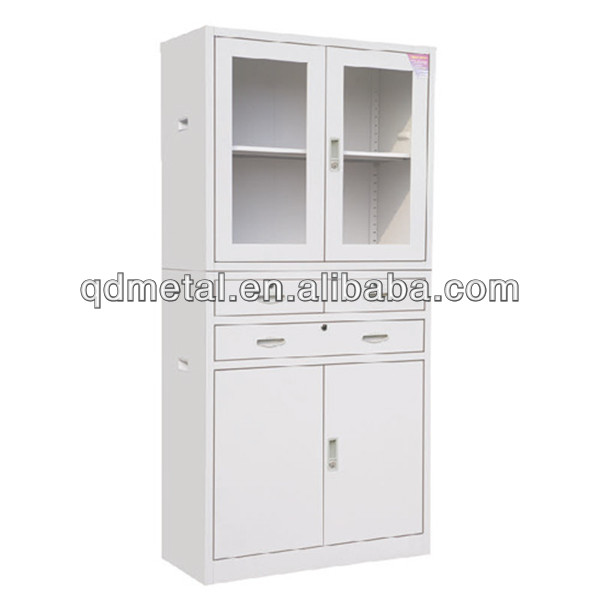 office use steel filing cabinet storage with up glass door