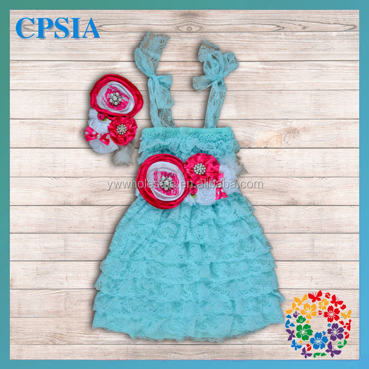 0-12 Years Baby Little Girl's Spaghetti Strap Aqua Blue Lace Dress Match with Red& White Color Satin Belt and Headband