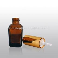 amber square glass bottle with aluminum perfume sprayer