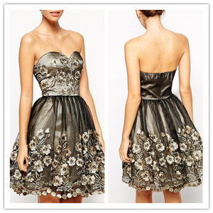 New style 3D floral applique sweetheart gown fashion ladies sexy mini party off shoulder vintage dress