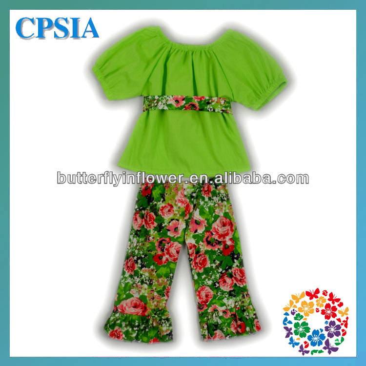 2014 lastest design spring children clothing sets cap sleeves cotton top blouse & cropped trousers set for kids
