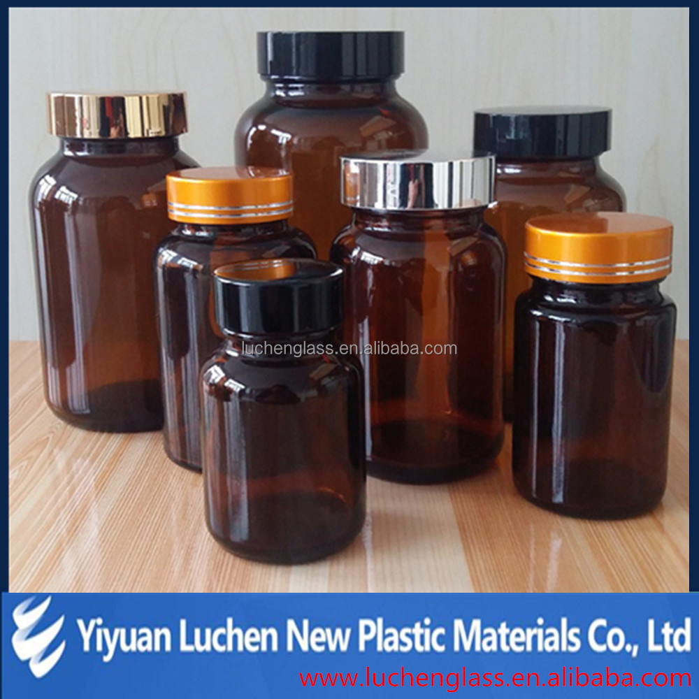 Various of Amber wide mouth tablet glass bottles for pills