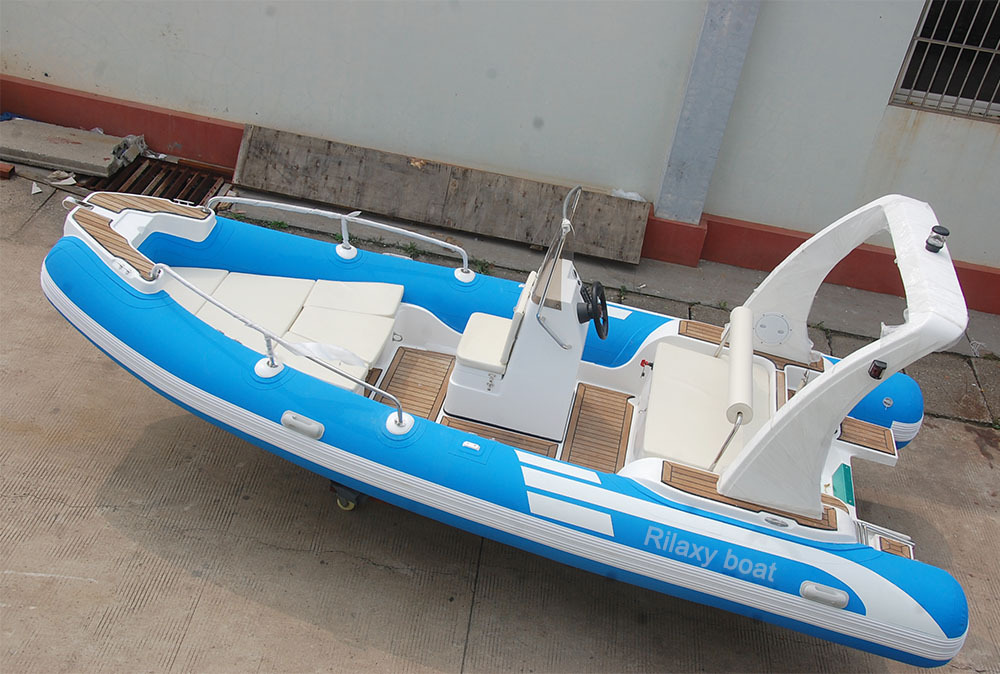 5.5m blue and white frp boat