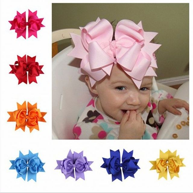 Fashion grosgrain ribbon large boutique hair bows with clips for kids