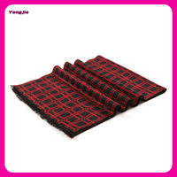 Thick Winter Long Big Men Cashmere Scarf in Red Plaid