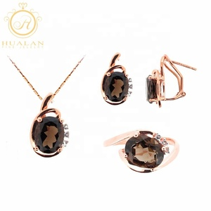 Hot Solid 14K Gold Peand Earring Ring 4 Pieces With Gemstone Women Dubai Gold Jewelry Set