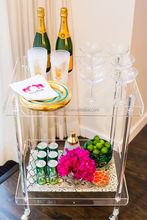 Alibaba supplier acrylic lucite juice bar cart serving trolley