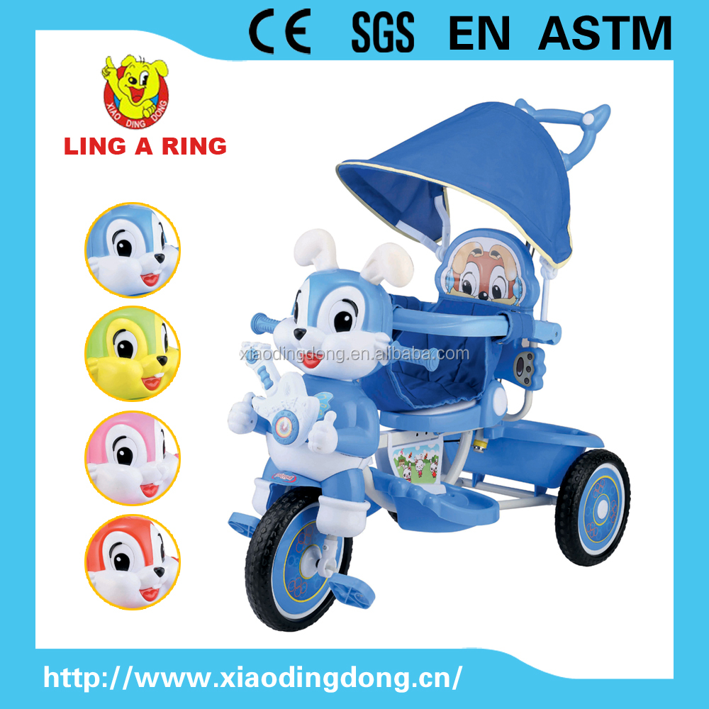 Best selling lovely Kid's tricycle with music and roof Cheap new baby trike with light rabbit ear plastic baby tricycle