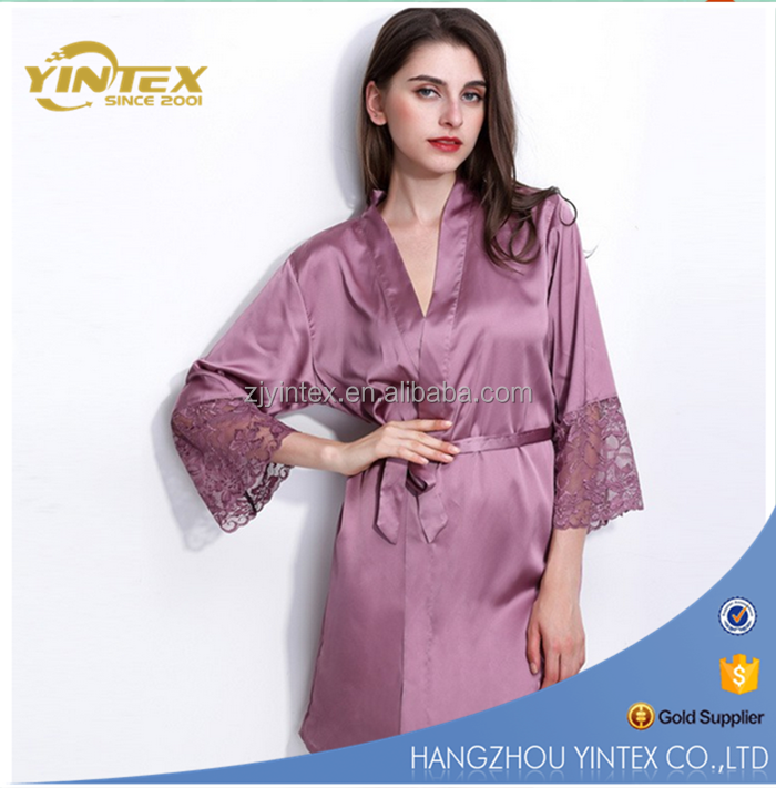 High quality classic ladies robes V-neck silk bathrobe with waistband