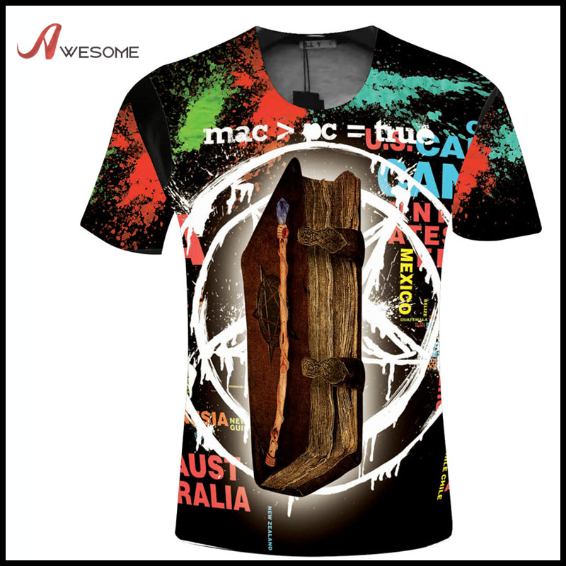 Men's short sleeve crew neck 3D digital doodles printing T-shirt with Mexico graffiti