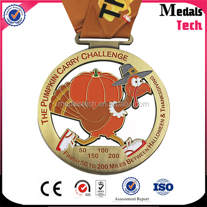 Factory price customized presonal logo 3d soft enamel different ribbon sprrt running metal marathon medal in spanish