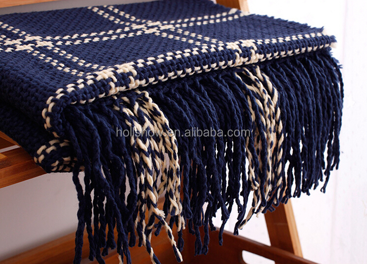 New Model Autumn Winter long Tassel Fringe Checked Plaid Blanket Shawl