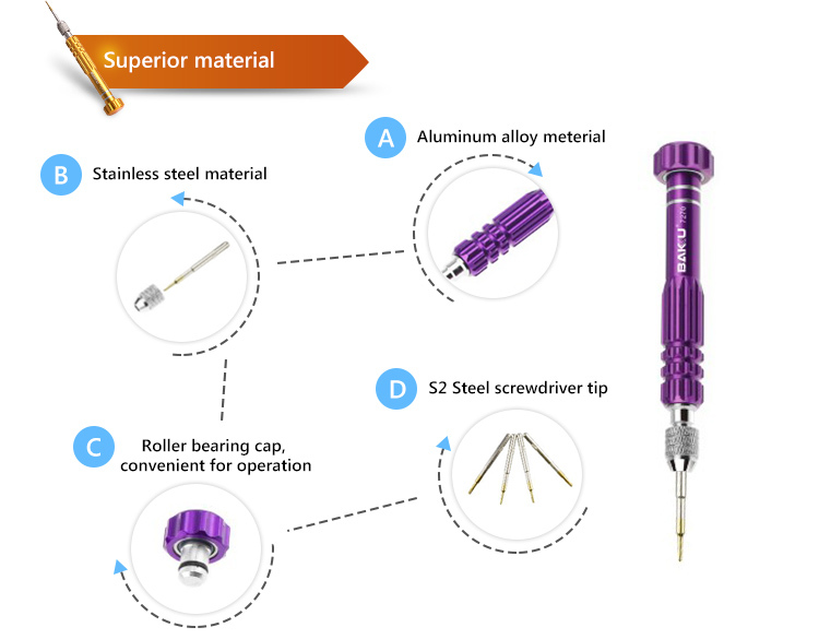 BK-7275 BaKu High Quality Mini Screwdriver With Precision Screwdriver Bit As Mobile Maintenance Tool