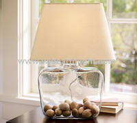 UL Listed Modern Style Bedroom Hotel Fancy Table Lamp With Clear Glass Vase Body And Linen Shade T40007