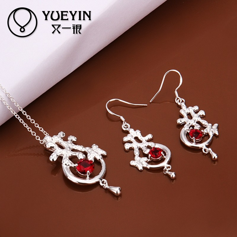2014 2 Pcs SGS verified silver plated fashion necklaces& earrings set