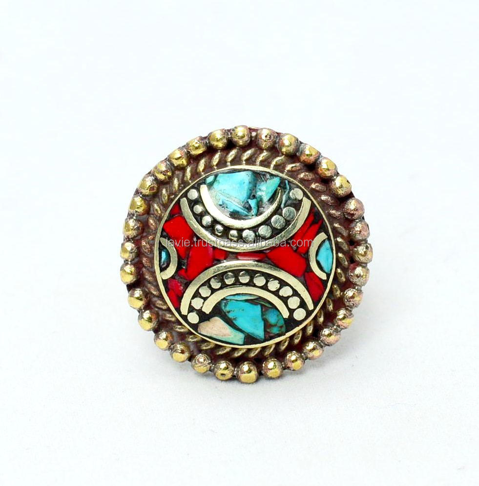Natural gemstone ring tibetan jewelry
