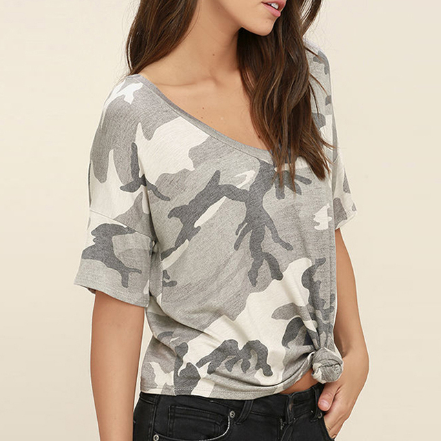 Women Gray Camouflage Printed Cotton V neck Short Sleeve T shirt