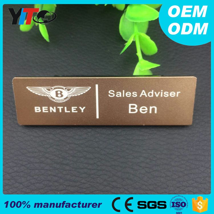 Direct sales cheap aluminum alloy name badge magnet or pin back custom logo security badge
