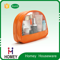 Free Sample Fashion Women Brand PVC Cosmetic Bag , Transparent Round make up Pouch